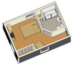 Basic PALS modular Addition floor plan that allows a person to stay in their home or the home of a loved one instead of going into a nursing home or assisted living facility.  This is a design PALS starts with and then makes adjustments according to the needs and wants of the person using it. This is a 14ft x 20ft addition and can be put in on a temporary or permanent basis. All PALS units are customized to the person using it