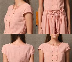 Pink Linen Dress Wrap-Around Fitted Cap Sleeves by YL1dress
