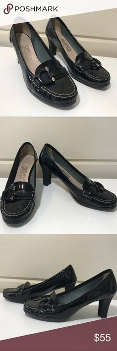 SALVATORE FERAGAMO PATENT LEATHER BLACK HEELS SALVATORE FERAGAMO EXCELLENT CONDITION BLACK PATENT LEATHER LOAFER HEELS SIZE 9.5 SUPER COMFORTABLE AND CAN BE WORN WITH EITHER JEANS OR A DRESS . CAN BE CASUAL OR PROFESSIONAL. THIS IS A CLASSIC LOAFER STYLE Salvatore Ferragamo Shoes Flats & Loafers