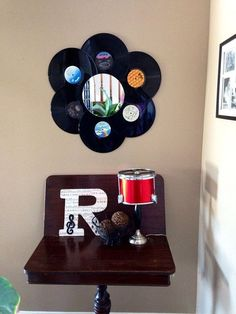 """Add some vintage retro charm to your home at an affordable price. For more record fun items for your home visit my """"record store re-spun"""" section. Vintage charm at affordable prices. Retro Chic, Retro Vintage, Casa Do Rock, Sell Vinyl Records, Music Themed Rooms, Lps, Retro Room, Vintage Records, Vinyl Wall Art"""