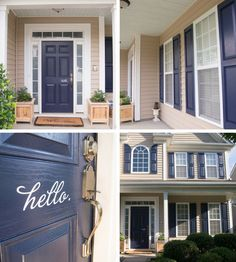 Image result for brown siding with navy shutters
