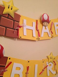 Super Mario Birthday Banner Great for kids by karlaspartycreations, $28.00