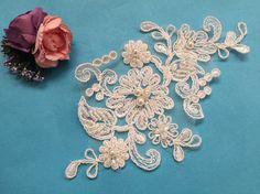 Beaded Bridal Lace Applique Beaded Alencon Applique by ZoeyStory