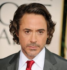 rock n roll hairstyles : Robert Downey Jr Hairstyles: Long Curley Side Swept at the Golden ...