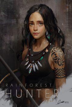 Rainforest Hunter арт, Kable Lin, девушки, охотник
