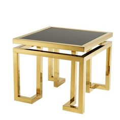 Buy Eichholtz Palmer Side Table - Gold online with Houseology's Price Promise. Full Eichholtz collection with UK & International shipping. Gold End Table, Gold Accent Table, End Table Sets, End Tables With Storage, Side Tables, Accent Tables, Black Table, Gold Furniture, Steel Furniture