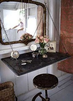 Art Fan-freaking-tastic vanity. Wouldnt this be nice in the spare bedroom? keep-the-home-fires-burning