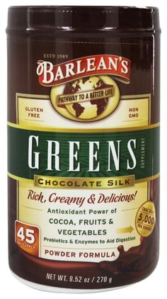 $28.52.   Save on Greens Chocolate Silk Powder Formula by Barlean's and other  									and Gluten-Free remedies 							 at Lucky Vitamin. Shop online for Nutritional Supplements, Barlean's items, health and wellness products at discount prices.