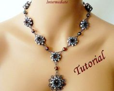 PEARL ELEGANCE beaded necklace beading tutorials and patterns seed bead beadwork jewelry beadweaving tutorials beading pattern instructions