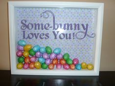 Easter Shadow Box Some-bunny Loves you 11x14 Wite Easter Decor. $43.00, via Etsy.