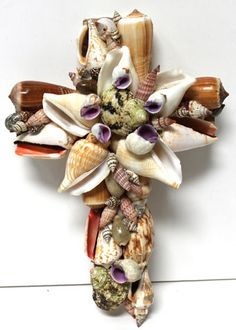 Small Multi-colored Seashell Cross, $12.99  #seashellcross