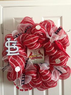St. Louis Cardinal wreath I made www.saturdaysboutique.etsy.com