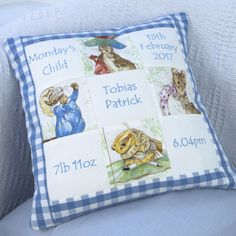 Beatrix Potter© Personalised Memory Cushion® - Peter Rabbit - Birth Details Cushion - New Baby Gift - Embroidered Names Pretty Toys Patterns, Harry Potter Treats, Beatrix Potter Nursery, Alphabet Nursery, Monday's Child, Peter Rabbit And Friends, Patchwork Cushion, Handmade Cushions, Personalized Pillows