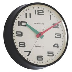 The Brixton black metal wall clock's bold red and green hands are a distinctive feature that transform the classic design.[br]The perfect complement to a contemporary kitchen or home office, the battery-operated clock has a silent sweep movement, so there's no ticking sound.