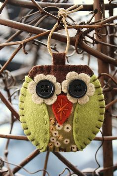 owl felt and fabric ornament decoration. $12.00, via Etsy.  Cute pattern