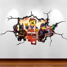LEGO MOVIE EMMET FULL COLOUR 3D wall art sticker boys bedroom decal transfer 2