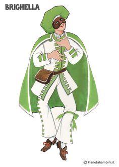Brighella: maschera tradizionale da stampare gratis e ritagliare