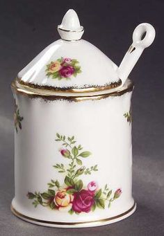 Royal Albert Old Country Roses Jam/Jelly & Lid W/Spoon