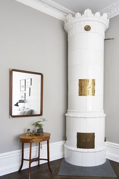 this heating tower is so cool; not to mention clever. Home Interior, Interior Design Living Room, Interior Architecture, Interior And Exterior, Wood Interior Design, Interior Styling, Interior Decorating, Dream Apartment, Scandinavian Living
