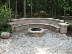 large paver patio fire pit bench designs - Google Search