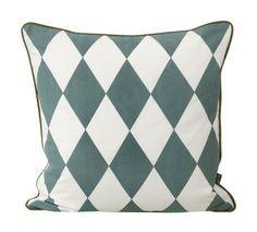 Coussin Large Geometry / coton - 50 x 50 cm Bleu pétrole & blanc - Ferm Living