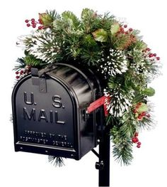 National Tree WP1-813-3-1 3' Wintry Pine Collection Mailbox Swag with Red Berries, Cones & Snowflakes-Reshippable Brown Box