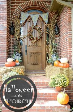 Halloween decorating on the porch is the perfect way to say Welcome to your little trick-or-treaters! I do a kid friendly version of Halloween decorations!