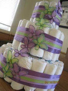 Ideas Baby Girl Shower Themes Purple Butterflies Diaper Cakes For 2019 Butterfly Diaper Cake, Butterfly Baby Shower, Baby Shower Purple, Purple Baby, Butterfly Cakes, Baby Shower Crafts, Baby Shower Themes, Shower Gifts, Shower Ideas