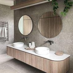 Adding curves to your cabinetry helps to give your bathroom a designer look, plus there are no sharp corners – it's a win win situation! 🙌 Lovely design courtesy of Bathroom Toilets, Bathroom Renos, Laundry In Bathroom, Remodel Bathroom, Bathroom Vanities, Bad Inspiration, Bathroom Inspiration, Toilette Design, Ideas Hogar