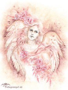 Vintage Engelbild Rose Of Love