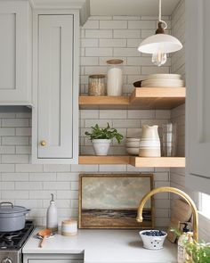 Handcrafted by Farmhouse. Designed by Studio McGee, shelves kitchen cabinet Handcrafted by Farmhouse. Designed by Studio McGee, Kitchen And Bath, New Kitchen, Kitchen Dining, Awesome Kitchen, Corner Shelves Kitchen, Kitchen Layout, Kitchen Hacks, Corner Shelving, Rustic Kitchen