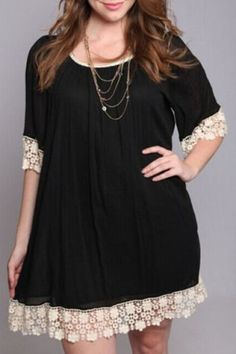 Sweet Scoop Neck Half Sleeve Lace Spliced Dress For WomenCasual Dresses | RoseGal.com
