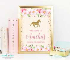 Unicorn Party Welcome Sign, Unicorn Birthday, Decor Sign, Gold Glitter, Welcome Sign, Unicorn Printable, Gold, Magical Unicorn, Pink Florals  #babyshowerideas4u #birthdayparty  #babyshowerdecorations  #bridalshower  #bridalshowerideas #babyshowergames #bridalshowergame  #bridalshowerfavors  #bridalshowercakes  #babyshowerfavors  #babyshowercakes