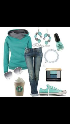 NOt sure how a cup of coffee is an accessory, and the earrings are dumb, but the hoodie, jeans and sneakers are awesome.
