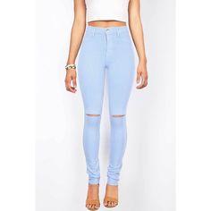 Pink Ice Slashed High Waist Skinny Pants ($40) ❤ liked on Polyvore featuring pants, blue, zipper pants, high rise pants, pink pants, high-waist trousers and skinny pants