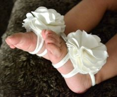 Ivory/ White Baby barefoot sandals- baby sandals