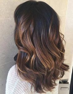 Light Chocolate Brown Balayage Highlights for Dark Hair - hair colors - Brown Balayage, Blonde Balayage, Balayage Highlights, Blonde Foils, Subtle Balayage, Brunette Color, Brunette Hair, Light Brunette, Summer Hairstyles