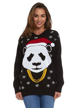 Hip Hop Panda Unisex Knit Ugly Christmas Sweater