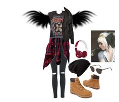 """Angel Kiss"" by thaisa-tcs ❤ liked on Polyvore featuring Timberland, Topshop, Free People, Rick Owens, RetroSuperFuture and Beats by Dr. Dre"