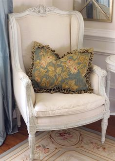 French Market Collection Blue and Gold Vines Aubusson Pillow Nasafi Grayce Toss Pillows, Couch Pillows, Accent Pillows, Cottage Furniture, Textiles, My Living Room, Cottage Living, French Country Decorating, Eclectic Decor