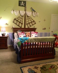 You could purchase an utilized bed from a garage sale or thrift shop and provide it a fast improve with some white paint to conserve cost. Pirate Bedroom Decor, Pirate Bedding, Bedroom Themes, Kids Bedroom, Bedroom Ideas, Pirate Decor, Boys Room Design, Pirate Theme, Pirate Names