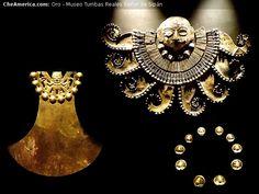 Joyas Reales Museo de El Señor de Sipán El cuerpo del Señor de Sipán estaba envuelto en telas y cubierto de piezas de cobre, por ello al ser encontrado lucía como una gran masa metálica. Lentamente y en capas fueron abriendo la envoltura funeraria y a medida que se acercaban los arqueólogos a los restos óseos del viejo Sipán iban encontrando impresionantes piezas de oro trabajado. En la foto vemos una pechera de oro, piedras y lapislázuli, un ser de 8