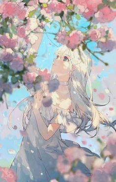Anime Angel Girl, Manga Anime Girl, Kawaii Anime Girl, Anime Flower, Estilo Anime, Amazing Drawings, Anime Scenery, Kawaii Art, Manga Drawing