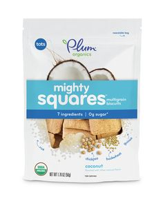 Review toddler nutrition information for Mighty Squares Coconut - Rice, Milk, Coconut, easy, on the go toddler snacks.