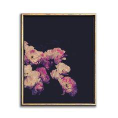 Dark Floral Art Printable Wall Art – Chaos & Wonder Design Pink Wall Art, Floral Wall Art, Floral Printables, Botanical Prints, Printable Wall Art, Floral Watercolor, Fine Art Paper, Flower Art, Art Prints