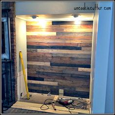 I created this mixed wood wall with cheap wood paneling from Lowes, leftover stain and paneling nail Wall Backdrops, Diy Backdrop, Wood Planks, Wood Paneling, Beadboard Wainscoting, Diy Wood Wall, Palette Diy, Pallet Walls, Plank Walls