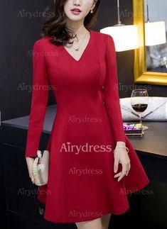 d676920967 Dress -  14.11 - Solid Skater V-Neckline Long Sleeve A-line Dress (