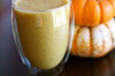Vegan Pumpkin Banana Smoothie - 3/4 cups unsweetened almond milk; 1 cup crushed ice; 1/2 frozen banana; 1 teaspoon finely ground flaxseed; 1/3 cup pumpkin puree (fresh is best, but canned will work); 1-1/2 tablespoons grade B maple syrup (honey for SCD) 1/4 teaspoon each of cinnamon, nutmeg, and ginger