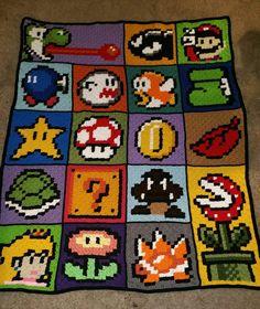 Mario blanket https://imgur.com/PZGPXZv #Gaming #VideoGames #Crochet