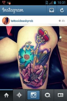 Hairstylist tattoos, scissor tattoos, crown tattoos, soft tattoos, color tattoos, flower tattoos, brilliant color tattoos